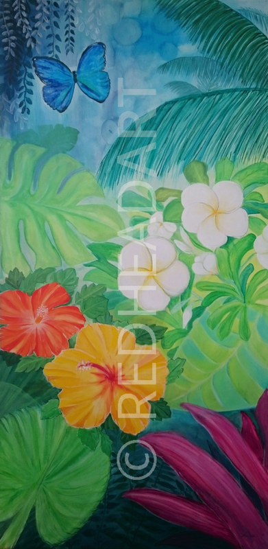 happy tropical jungle painting with flowers