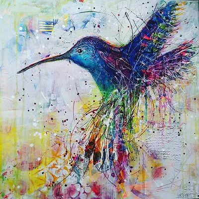 Flying hummingbird painting, colourful blue bird with light yellowish background