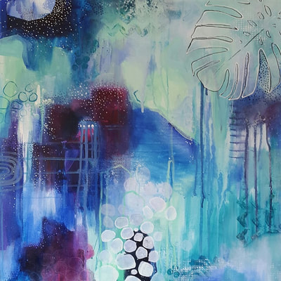 Tropical blue abstract acrylic painting by Lisa Schmidt