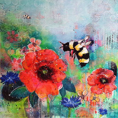 Flying bee with red and blue flowers, painting by  Redhead Art