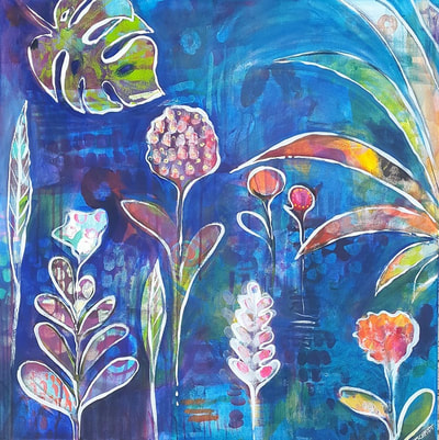 painting of vibrant tropical flowers with a ultramarine blue background by Lisa Marie Schmidt