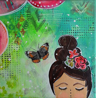 Small painting with beautiful girl with brown hair, red roses at her hair and a brown butterfly on a green background