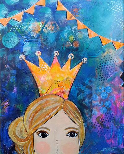 Small painting with a blond princess with a cute crown, koningsdag in Den Haag