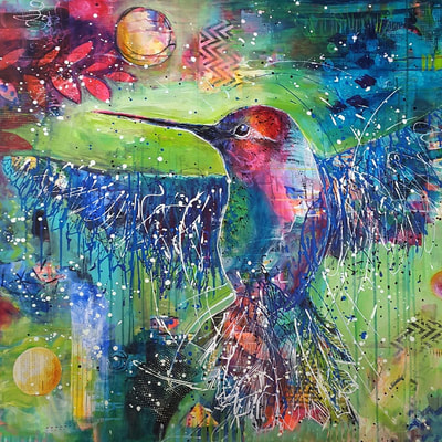 Dynamic and vibrant painting with blue and pink hummingbird on green background, title: infinite movement from Lisa