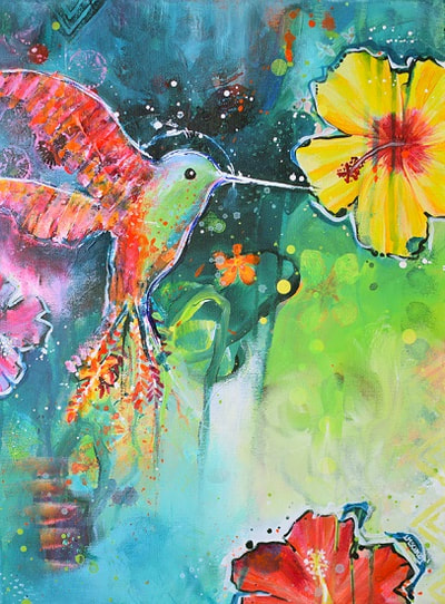 Small colourful hummingbird with a yellow flower, by Redhead Art