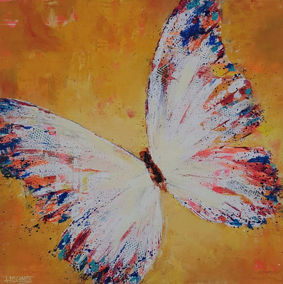 Yellow lemon butterfly painting by Redhead Art