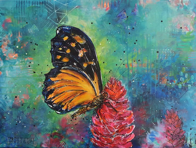 Painting of orange monarch butterfly on a red ginger flower on green background, painting by Lisa