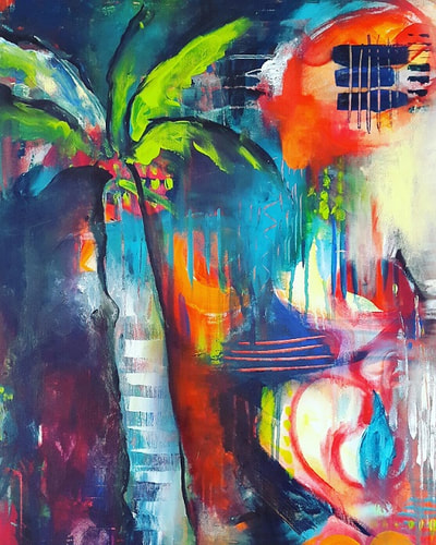 Schilderij van Lisa Marie Schmidt, palmtree and freedom in layers