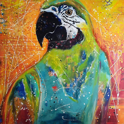 painting with a green macaw, ara bird on vibrant orange background by Lisa Marie Schmidt