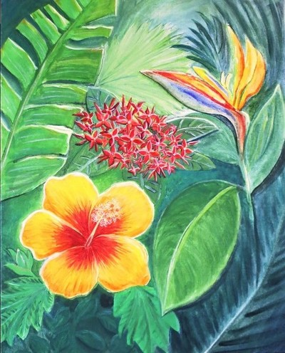 green and yellow jungle painting with bird of paradise flower, faya lobi and hibiscus