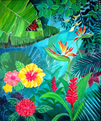 Vibrant painting with birds of paradise, butterfly, faya lobi and red ginger flowers in the jungle