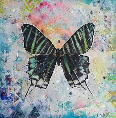 Small mixed media painting with black and green butterfly on light rainbow background, painted by Lisa Marie Schmidt