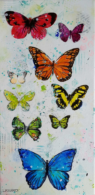 Small painting with many butterfly in rainbow colours