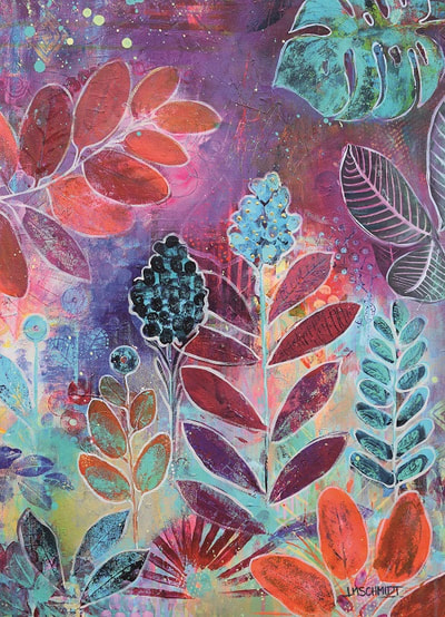 Painting in violet and magenta of leaves and flowers by Redhead Art, painted   by Lisa Marie Schmidt