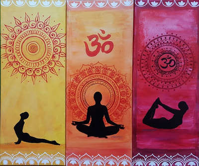 3 paintings in yellow, orange and red of famous yoga poses and mandalas