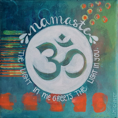small yoga painting with aum, namaste written on a teal background